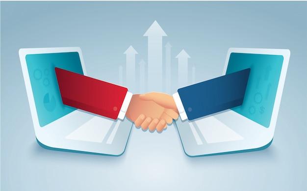 Gente di affari che stringe le mani tramite il computer portatile