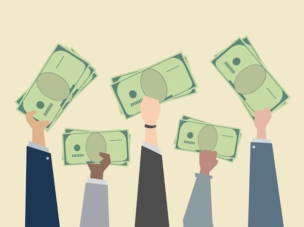 Gente di affari che tiene l'illustrazione dei soldi