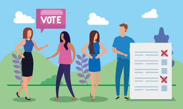 Gente di affari con l'iscrizione di voto nel paesaggio