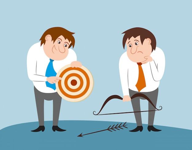 Gente di affari con la freccia dell'arco e l'obiettivo