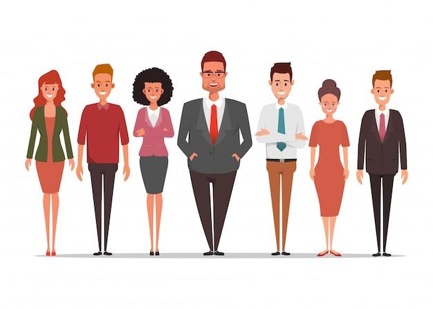 Gente di affari del carattere di lavoro di squadra in piedi aziendale.