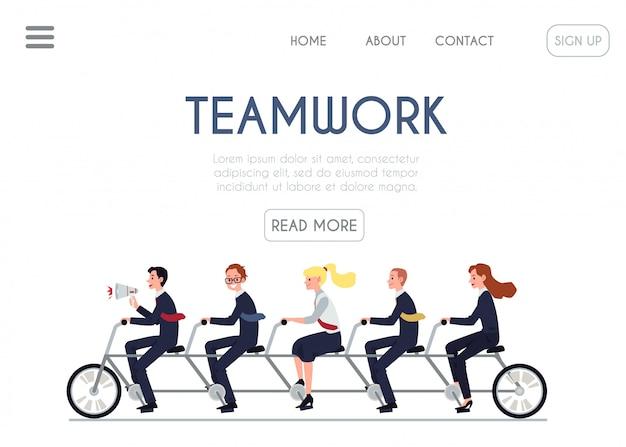 Gente di affari del fumetto dell'insegna del sito web di lavoro di squadra che guida insieme bici in tandem.