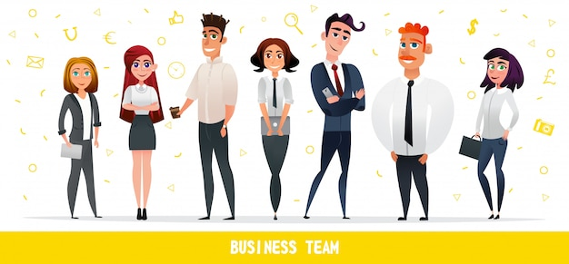 Gente di affari del fumetto team characters flat style