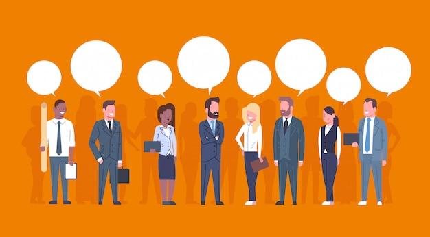 Gente di affari del gruppo di concetto di comunicazione team of successful businessmen e donne di affari con ch