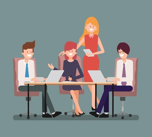 Gente di affari di lavoro di gruppo in gruppo. personaggi caratteristici nel lavoro.