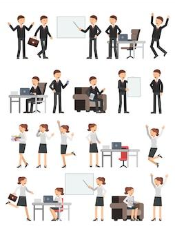 Gente di affari differenti maschi e femminili in pose di azione.
