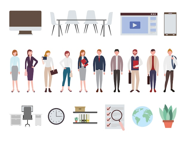 Gente di affari e icone delle apparecchiature per ufficio