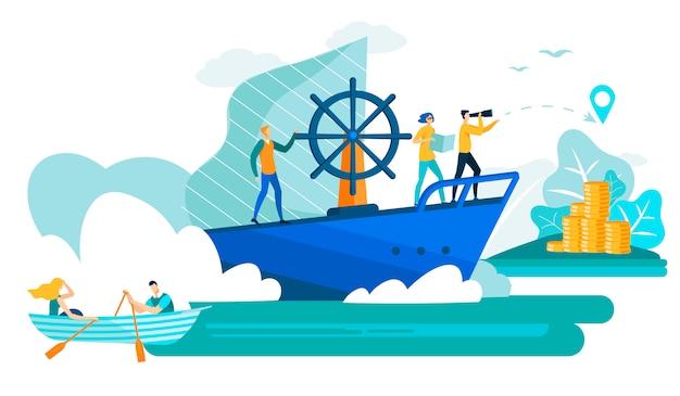 Gente di affari in barca e vettore piano della nave.