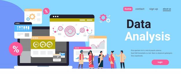 Gente di affari indiana diagramma grafico diagramma grafico