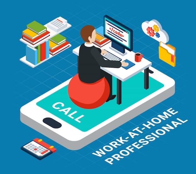 Gente di affari isometrica, carattere umano del professionista dell'ufficio che lavora a casa con l'illustrazione di vettore dello smartphone