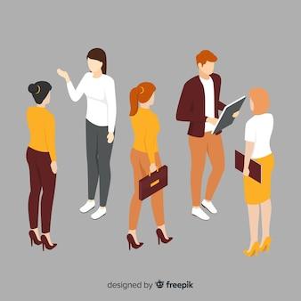 Gente di affari isometrica che incontra illustrazione