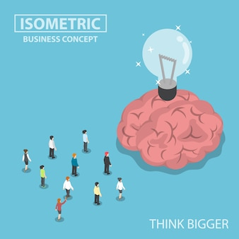 Gente di affari isometrica che sta davanti al grande cervello e alla lampadina dell'idea
