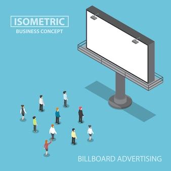 Gente di affari isometrica in piedi davanti al grande cartellone