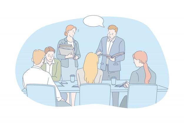 Gente di affari, lavoro di squadra, concetto di internato