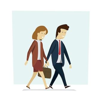 Gente di affari uomo e donna che camminano per lavorare.
