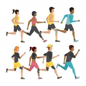 Gente di forma fisica che esegue personaggi