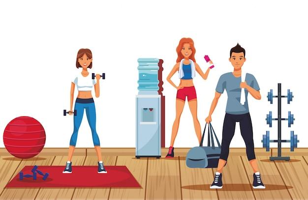 Gente di forma fisica in palestra