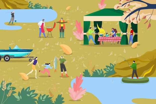 Gente di pesca in barca, illustrazione di attività all'aperto. picnic della famiglia vicino al lago dello stagno, ricreazione alla natura. uomo donna