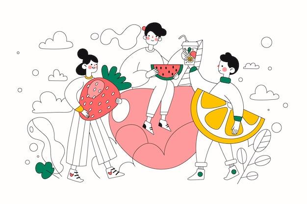 Gente di stile di vita verde disegnata a mano