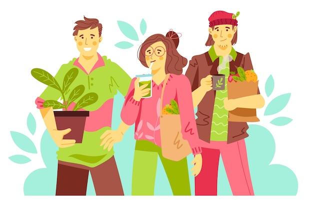 Gente di stile di vita verde in possesso di borse con verdure e piante