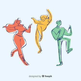 Gente disegnata a mano che balla insieme