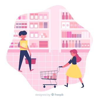 Gente disegnata a mano che compra sullo sfondo del supermercato
