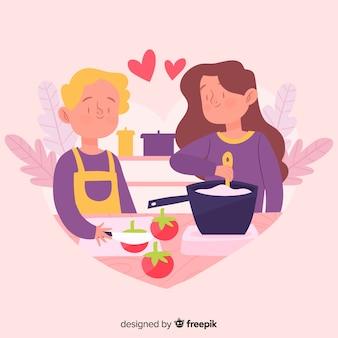 Gente disegnata a mano che cucina sfondo