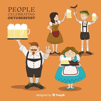 Gente disegnata a mano felice che celebra l'oktoberfest
