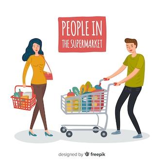 Gente disegnata a mano nel set del supermercato