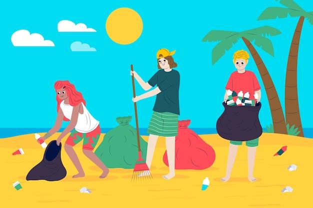 Gente ecologica che pulisce la spiaggia