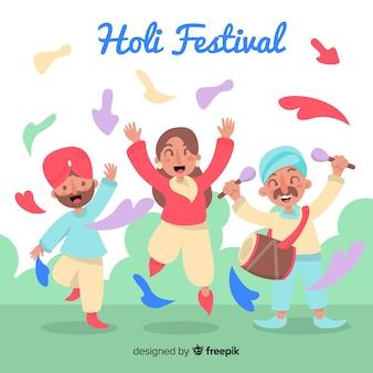 Gente felice che celebra il festival di holi