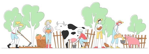 Gente felice che coltiva all'illustrazione della campagna