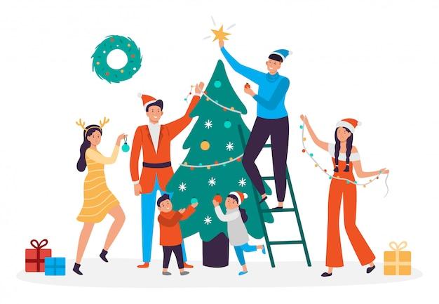 Gente felice che decora l'albero di natale. famiglia che prepara per il nuovo anno, illustrazione del partito di festa di natale