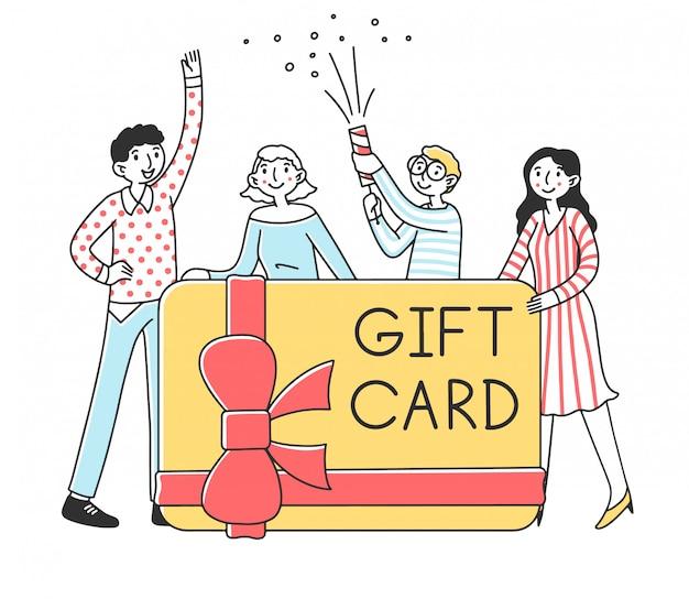 Gente felice che ottiene l'illustrazione della carta di regalo dei soldi
