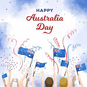 Gente felice di giorno dell'australia che tiene le bandiere