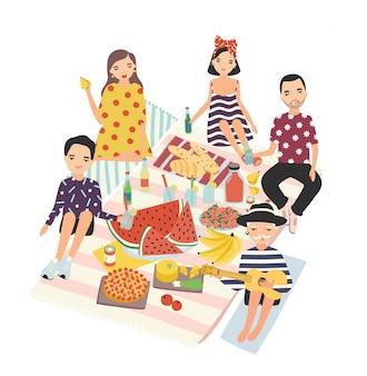Gente felice o gruppo di amici cenando all'aperto isolato su bianco