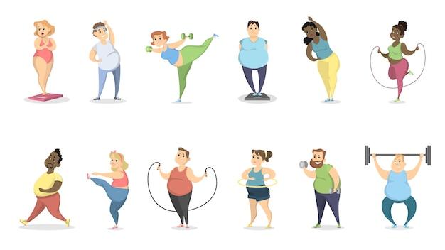 Gente grassa che si esercita sul bianco con attrezzatura.