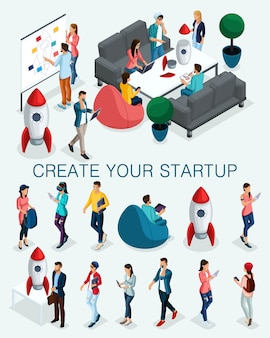 Gente isometrica alla moda, uomo d'affari, concetto con i giovani, giovane squadra di specialisti, creazione di avvio, sviluppo della strategia di brainstorming isolato
