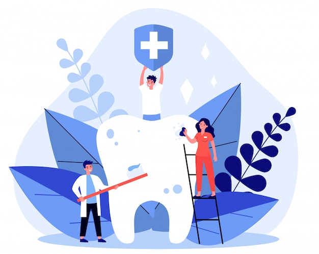 Gente minuscola che pulisce la grande illustrazione del dente