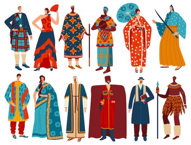 Gente multiculturale in costumi nazionali tradizionali, personaggi dei cartoni animati, illustrazione