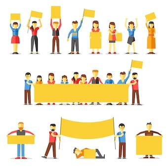 Gente notevole che tiene le bandiere gialle vuote.