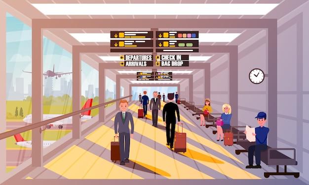 Gente occupata nell'illustrazione piana dell'ingresso dell'aeroporto.