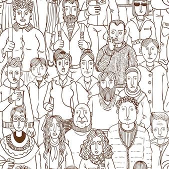 Gente per strada disegnato a mano senza cuciture di vettore