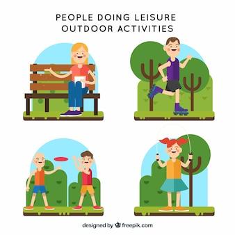 Gente piatta che fa attività all'aria aperta per il tempo libero