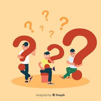 Gente piatta con punti interrogativi