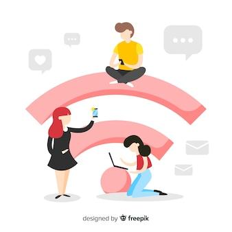 Gente piatta con sfondo di segno wifi