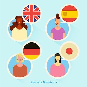 Gente variopinta che parla lingue diverse con design piatto