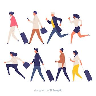 Gente variopinta in un insieme di fretta