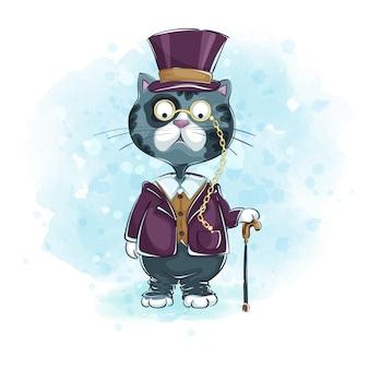 Gentiluomo di gatto grigio con cappello a cilindro, pince-nez con una canna.