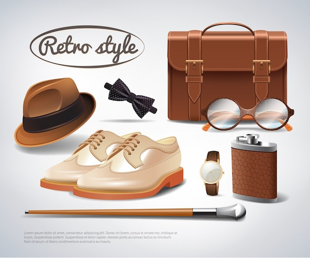 Gentleman accessories set realistico